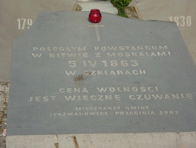 Tablica poświęcona powstańcom styczniowym w Szklarach - MojRower.pl