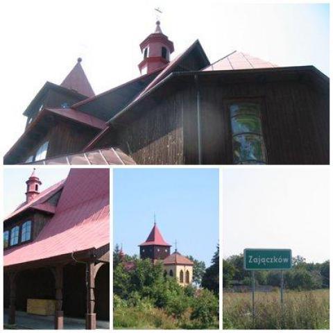 drewniany kościółek w Zajączkowie - MojRower.pl