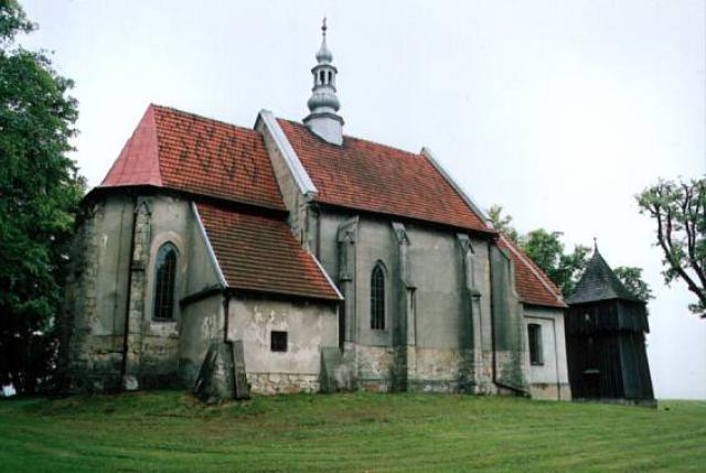 kościół p.w. Narodzenia NMP i Dzwonnica (spłonęła w 2008 roku) - MojRower.pl