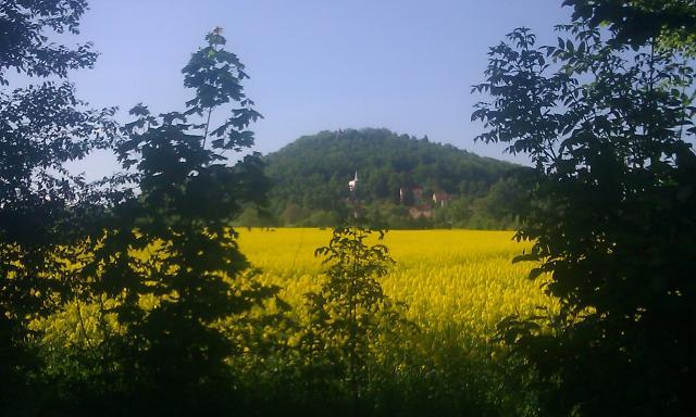Widok na wygasły wulkan i zamek - MojRower.pl